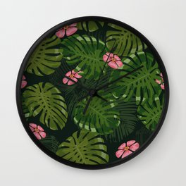 Green Leaves Pink Flowers Wall Clock