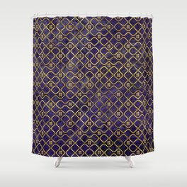 Gold Chinese Double Happiness Symbol pattern on amethyst Shower Curtain