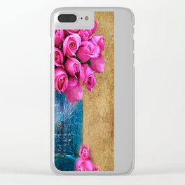 BALL MASON JAR AND ROSES Clear iPhone Case