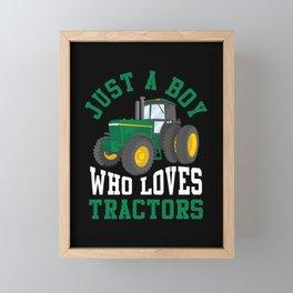 Kid Tractor lover Farmer Son Nephew Grandkid Framed Mini Art Print