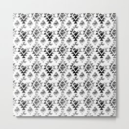 65 MCMLXV Aztec Black and White Watercolor Pattern Metal Print