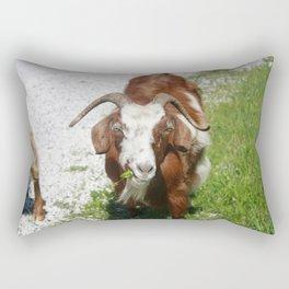 Whimsical Portrait of a Horned Goat Grazing Rectangular Pillow