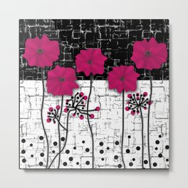 Crimson flowers on black and white background. Metal Print