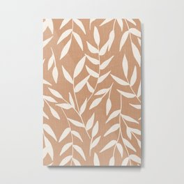 Foliage on Taupe Metal Print