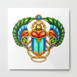 Colorful Egyptian Scarab - Digital Painting Metal Print