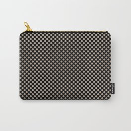 Black and Champagne Beige Polka Dots Carry-All Pouch