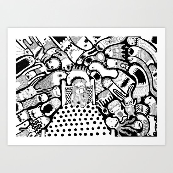 Afraid Of The Dark Art Print