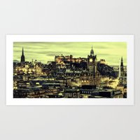 edinburgh Art Prints featuring Edinburgh by EclipseLio