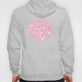 Pink and White Peony Flower Summer Garden Illustrated Print Hoody
