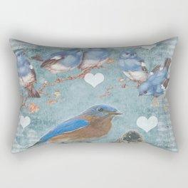 Blue Bird Mom and Her Babies Rectangular Pillow