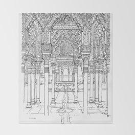 Alhambra palace, Granada, Andalucia - Spain-Black & White Throw Blanket