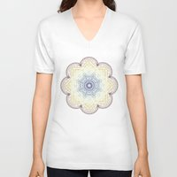 henna V-neck T-shirts featuring Mandala Henna by Liz Slome