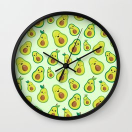 Cute Avocado Pattern Wall Clock