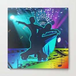 Dancing Couple Ballroom Waltz Stage Lights Music Symbols Metal Print
