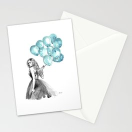 Balloons Turquoise  Stationery Cards