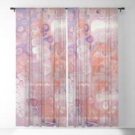 Purple Peach Fizz - Abstract Acrylic Art by Fluid Nature Sheer Curtain