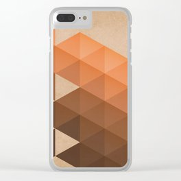 Warm Brown  -  Geometric Triangle Pattern Clear iPhone Case
