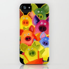 colorful pigs iPhone Case