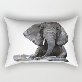 Low Poly Elephant in water Rectangular Pillow