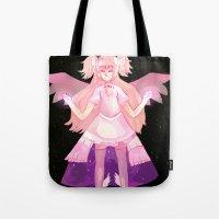 madoka magica Tote Bags featuring Puella Magi Madoka Magica - Madoka Kaname (Goddess Form) Pillow by iscottart