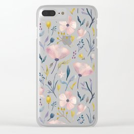 Delicate Pastel Flowers Clear iPhone Case