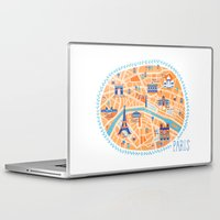paris map Laptop & iPad Skins featuring Paris Map by Emily Golden