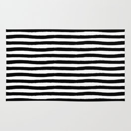 Black And White Hand Drawn Horizontal Stripes Rug