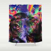 lab Shower Curtains featuring Black Lab Nose by Roger Wedegis