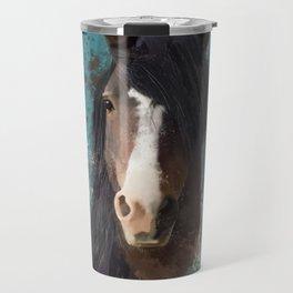 Black Brown Horse Artwork Travel Mug
