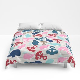 Rustic white wood red blue nautical anchor whale pattern  Comforters