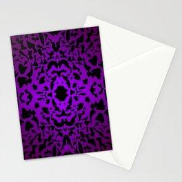 Openwork ornament of violet spots and velvet blots on black. Stationery Cards