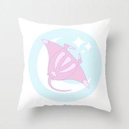 Lunar Manta Ray Throw Pillow