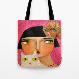 White Cat and Flapper girl pretty painting by Tascha Tote Bag