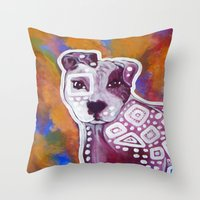 pitbull Throw Pillows featuring Pitbull Art by Just Bailey Designs .com