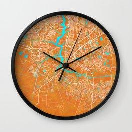 Chesapeake, VA, USA, Gold, Blue, City, Map, gold, blue, city, map, grey, road, river, land, landscap Wall Clock