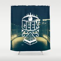 geek Shower Curtains featuring GEEK by YTRKMR