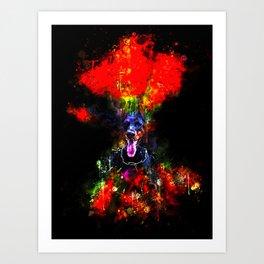 doberman dog red flowers meadow splatter watercolor Art Print