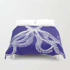 Octopus | Navy Blue and White Duvet Cover