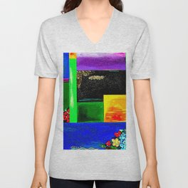 Sunrise in Ponce - Abstract Creative Fusion of Colors and Emotions Unisex V-Neck