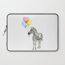 Zebra Watercolor With Heart Shaped Balloons Laptop Sleeve