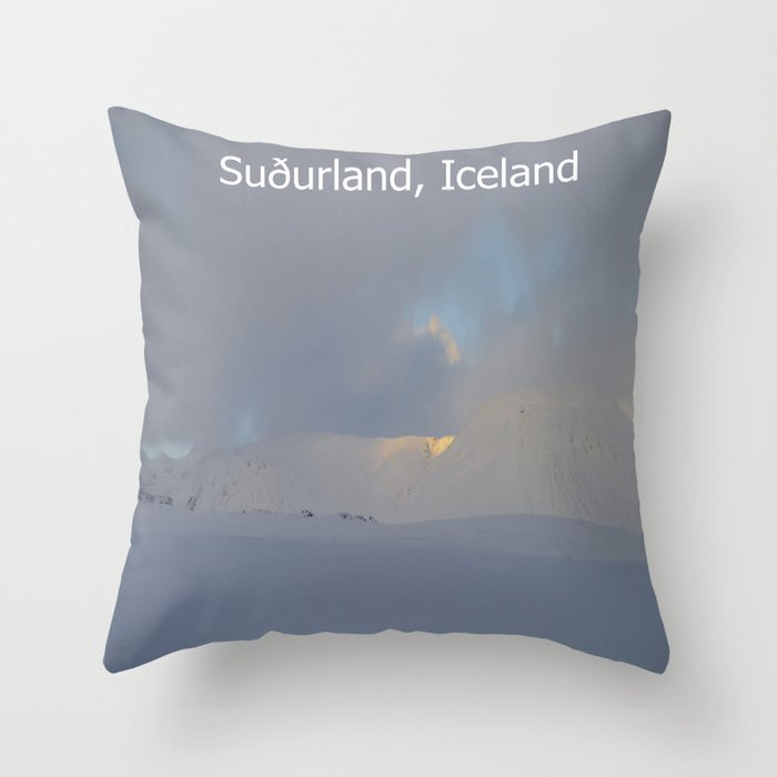 Winter landscape of Suðurland, Iceland Throw Pillow