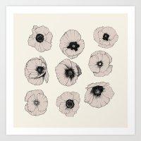 poppy Art Prints featuring poppy by NOA ALON ART