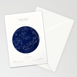 French May Star Maps in Deep Navy & Black, Astronomy, Constellation, Celestial Stationery Cards