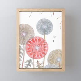 Red dandelions, watercolor Framed Mini Art Print