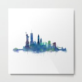 NY New York City Skyline NYC Watercolor art Metal Print