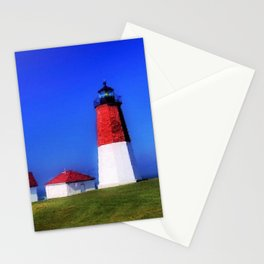 Point Judith Lighthouse, Narragansett, Rhode Island landscape nautical painting Stationery Cards