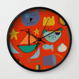 cat and bear pirate red Wall Clock