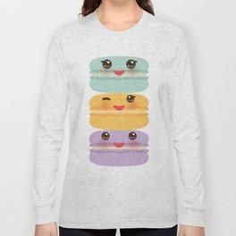 Kawaii macaroon funny orange blue lilac cookie with pink cheeks with pink cheeks and big eyes Long Sleeve T-shirt
