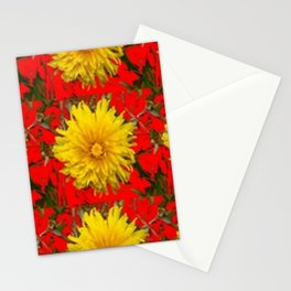 YELLOW DANDELION BLOSSOMS ON RED ORGANIC ART Stationery Cards