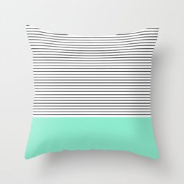 Minimal Mint Stripes Throw Pillow
